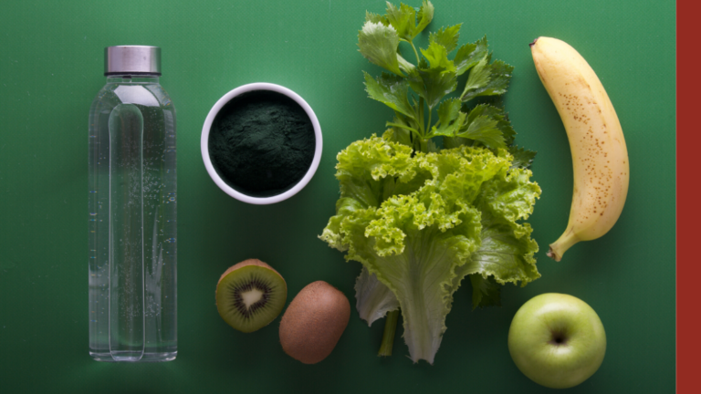 7 facts about nutrition that will change your life - showing a green table with vegetables, fruits, water and spirulina