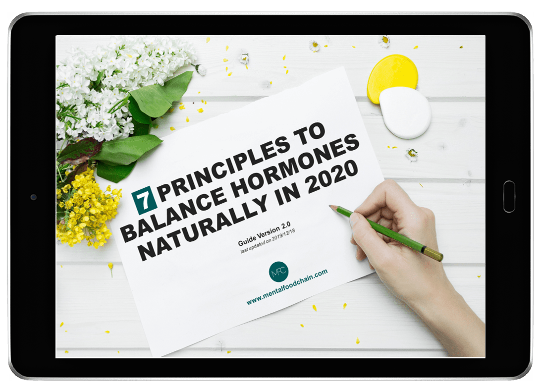 A tablet displaying the 7 principles to balance hormones naturally in 2020 PDF guide cover from www.mentalfoodchain.com