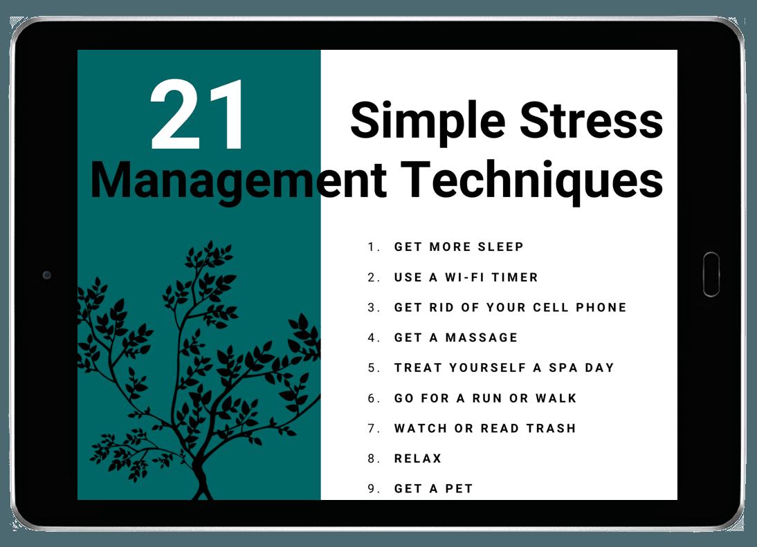 21 stress management techniques list pdf on tablet