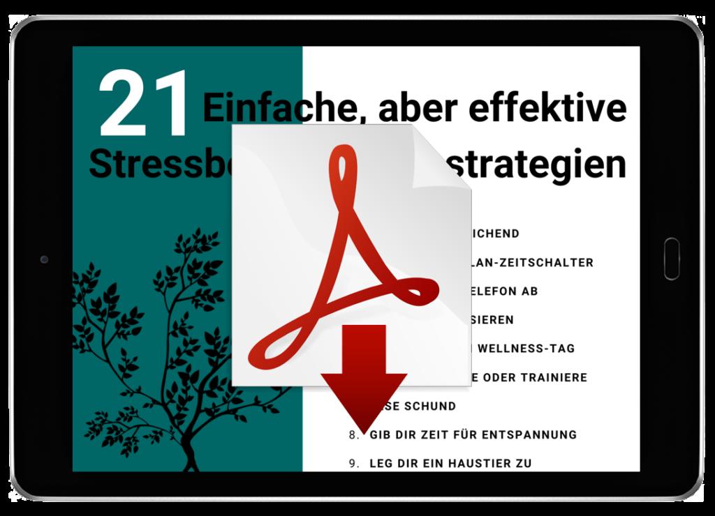 Stressbewältigungsstrategien PDF als Download am Tablet