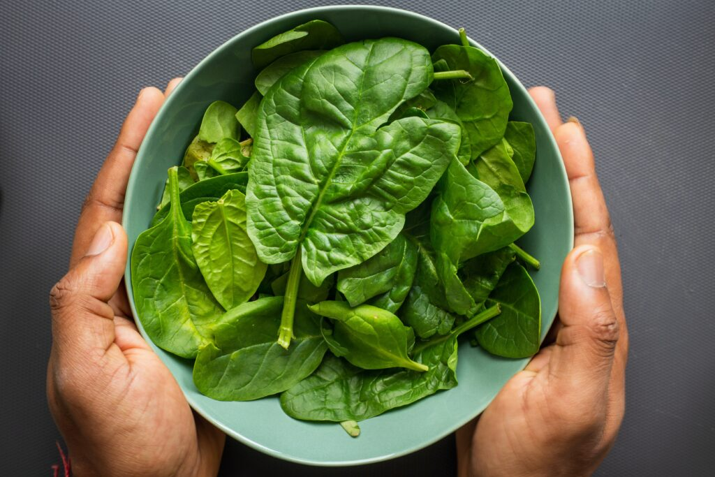 Spinach is a food high in potassium