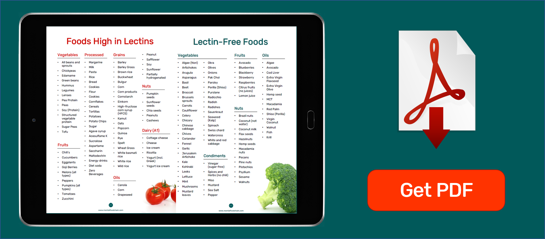 foods high in lectins and lectin free food list pdf