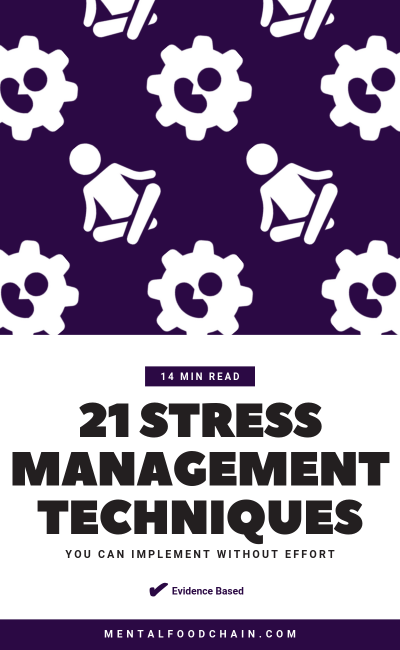 21 stress management techniques you can implement without effort blog cover with meditation icon