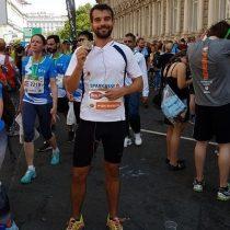 Obese kid completing marathon