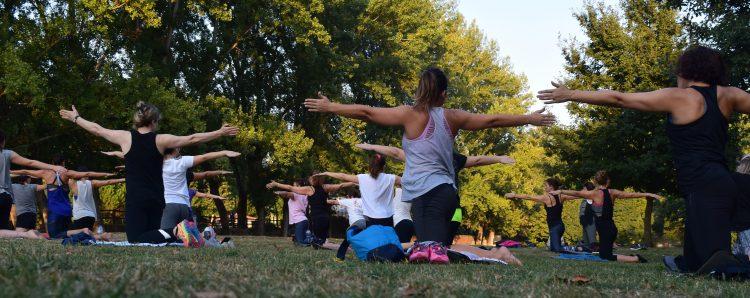 Leute praktizieren die achtsamkeitsbasierte Stressbewältigungsstrategie Yoga in einem Park